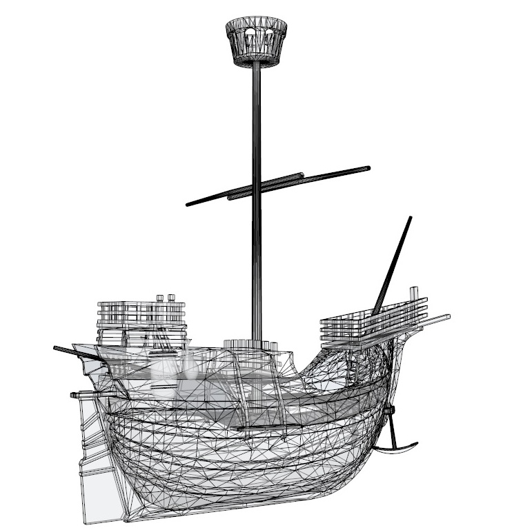 old miniature pirate ship 3d model 3ds dxf dwg skp obj 163645