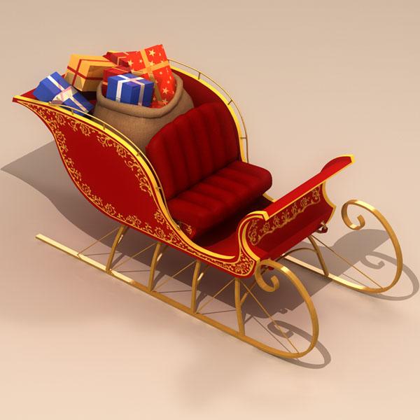 santa claus sleigh 3d model 3ds max dxf fbx c4d dae ma mb obj 121203