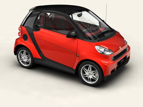 smart fortwo coupe 2009 3d model 3ds max lwo obj 127974