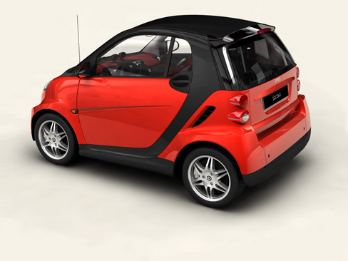 smart fortwo coupe 2009 3d model 3ds max lwo obj 127975