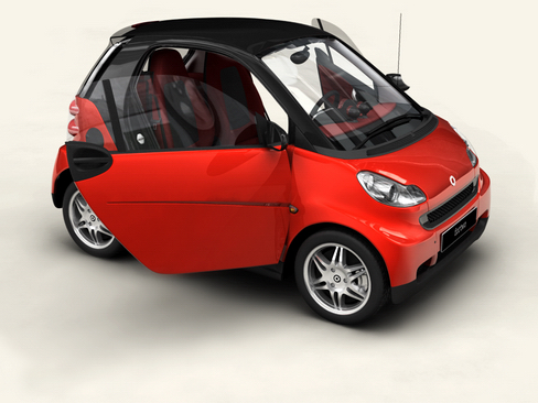 smart fortwo coupe 2009 3d model 3ds max lwo obj 127977