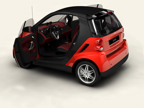 smart fortwo coupe 2009 3d model 3ds max lwo obj 127978