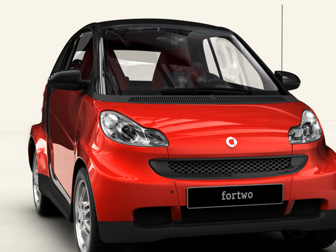 smart fortwo coupe 2009 3d model 3ds max lwo obj 127979