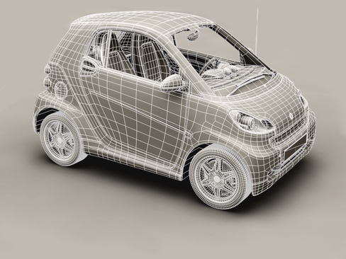 smart fortwo coupe 2009 3d model 3ds max lwo obj 127982