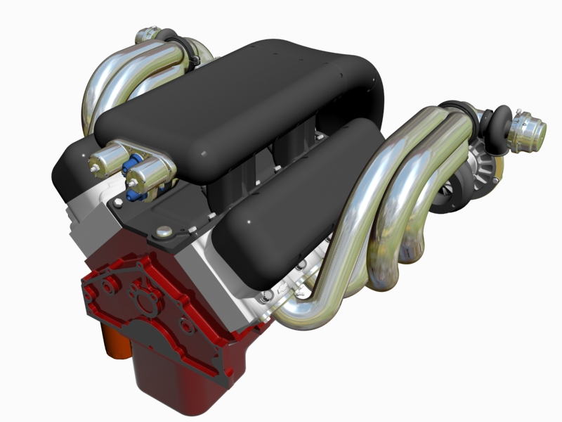 twin-turbo chevrolet veliki blok motor 3d model 3ds 140256