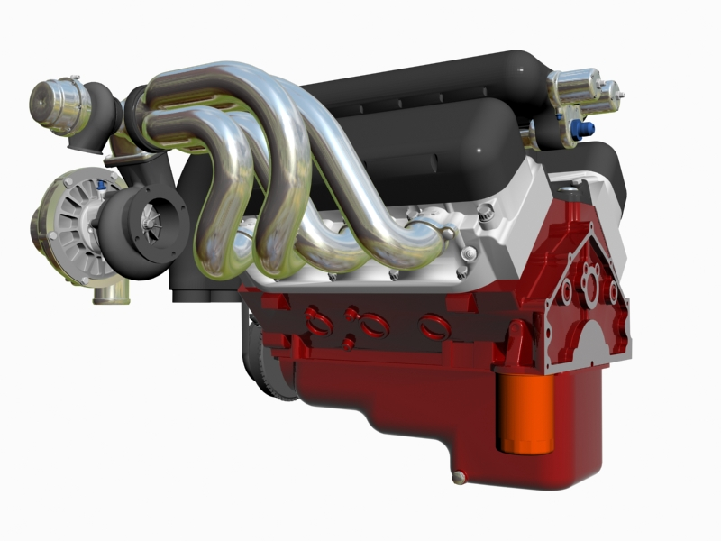 twin-turbo chevrolet veliki blok motor 3d model 3ds 140258