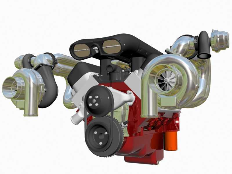 twin-turbo chevrolet veliki blok motor 3d model 3ds 140260