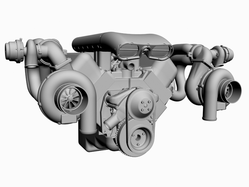 twin-turbo chevrolet veliki blok motor 3d model 3ds 140265