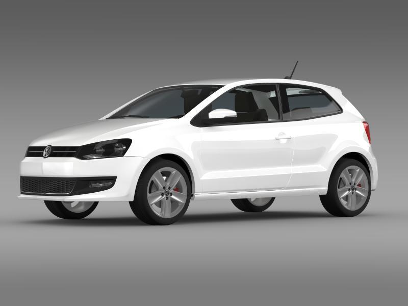 volkswagen polo 3d 2009-2013 3d model 3ds max fbx c4d lwo ma mb hrc xsi obj 161108