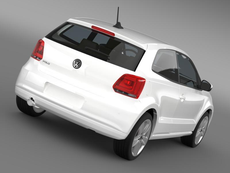 volkswagen polo 3d 2009-2013 3d model 3ds max fbx c4d lwo ma mb hrc xsi obj 161109