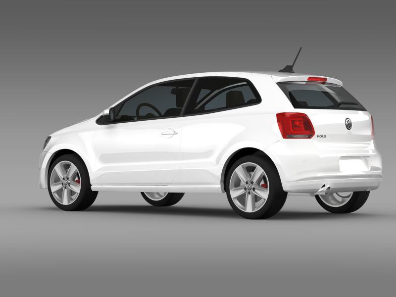 volkswagen polo 3d 2009-2013 3d model 3ds max fbx c4d lwo ma mb hrc xsi obj 161112