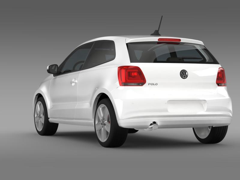 volkswagen polo 3d 2009-2013 3d model 3ds max fbx c4d lwo ma mb hrc xsi obj 161113