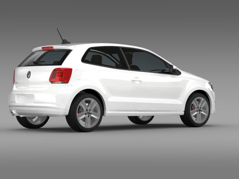 volkswagen polo 3d 2009-2013 3d model 3ds max fbx c4d lwo ma mb hrc xsi obj 161116
