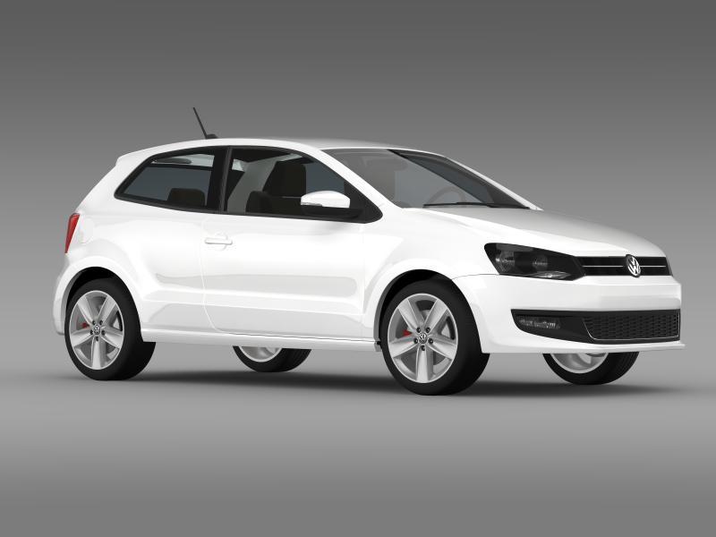 volkswagen polo 3d 2009-2013 3d model 3ds max fbx c4d lwo ma mb hrc xsi obj 161118
