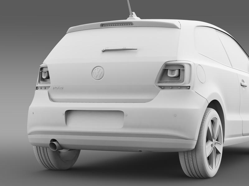 volkswagen polo 3d 2009-2013 3d model 3ds max fbx c4d lwo ma mb hrc xsi obj 161123