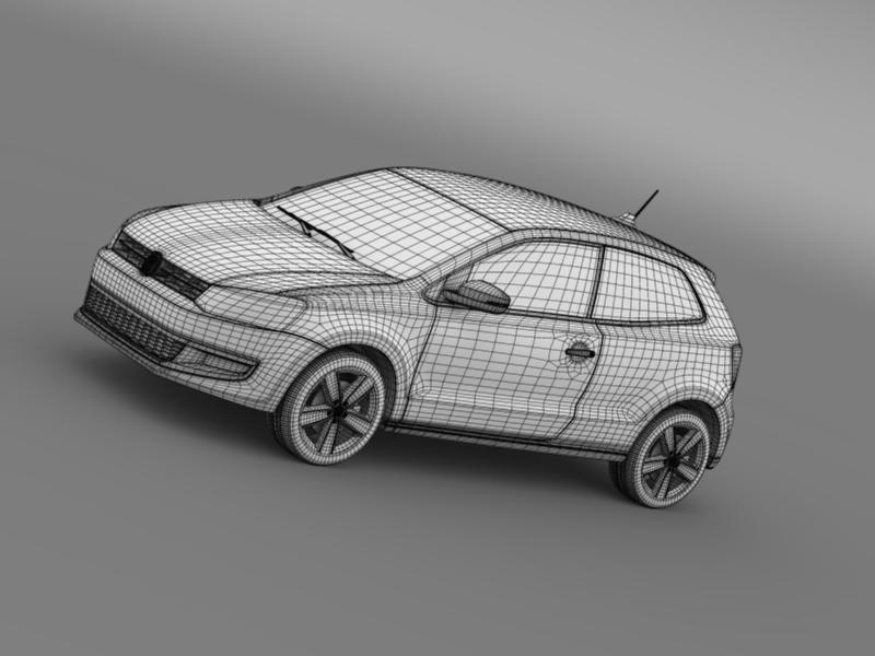 volkswagen polo 3d 2009-2013 3d model 3ds max fbx c4d lwo ma mb hrc xsi obj 161124
