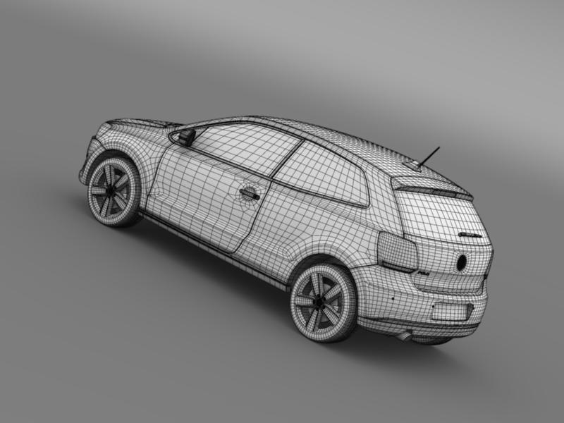 volkswagen polo 3d 2009-2013 3d model 3ds max fbx c4d lwo ma mb hrc xsi obj 161126