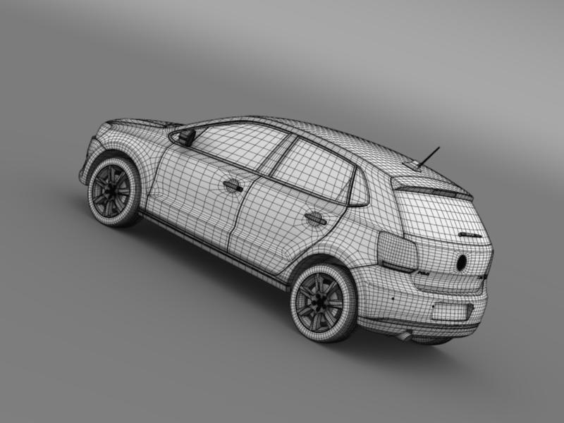 volkswagen polo bifuel 5d 2010-2013 3d model 3ds max fbx c4d lwo ma mb hrc xsi obj 161168