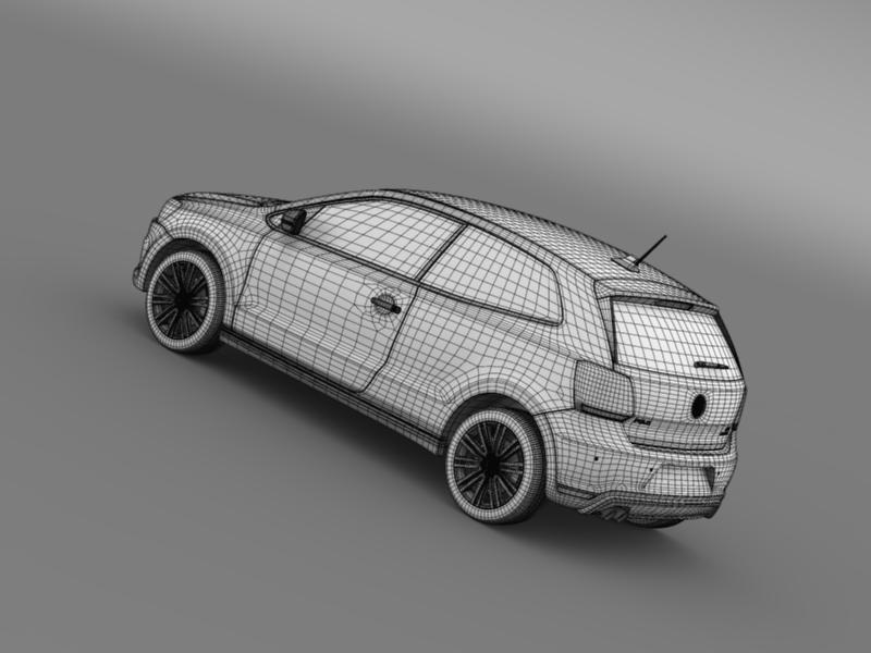 volkswagen polo bluegt 3d 2009-2013 3d model 3ds max fbx c4d lwo ma mb hrc xsi obj 161917