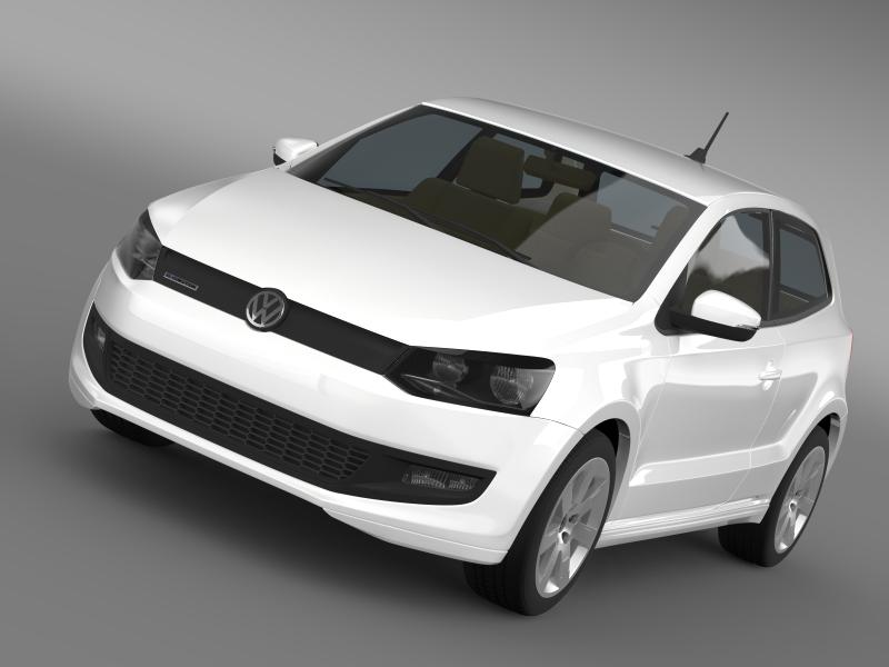 volkswagen polo bluemotion 3d 2010-2013 3d model 3ds max fbx c4d