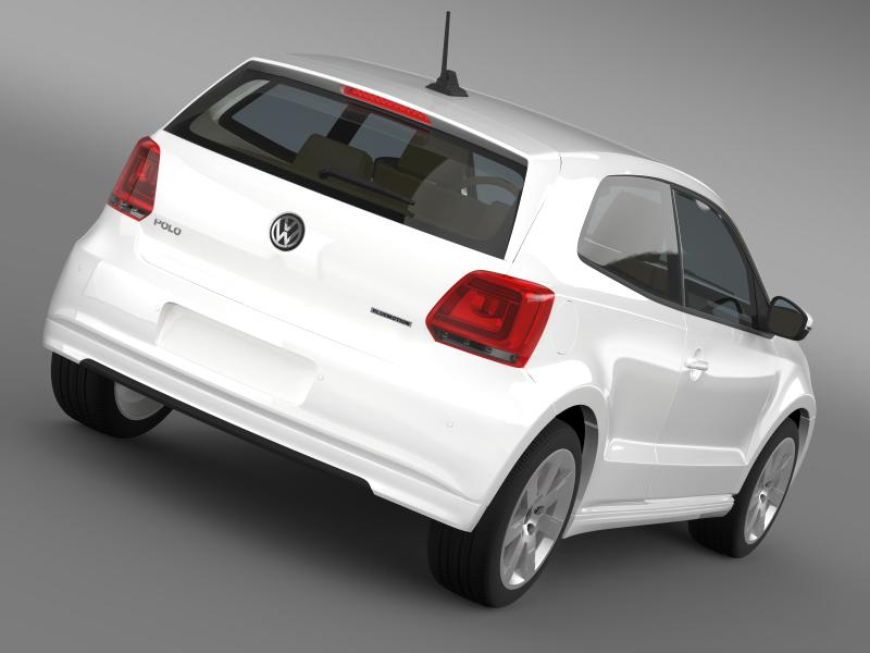 volkswagen polo bluemotion 3d 2010-2013 3d model 3ds max fbx c4d lwo ma mb hrc xsi obj 161357