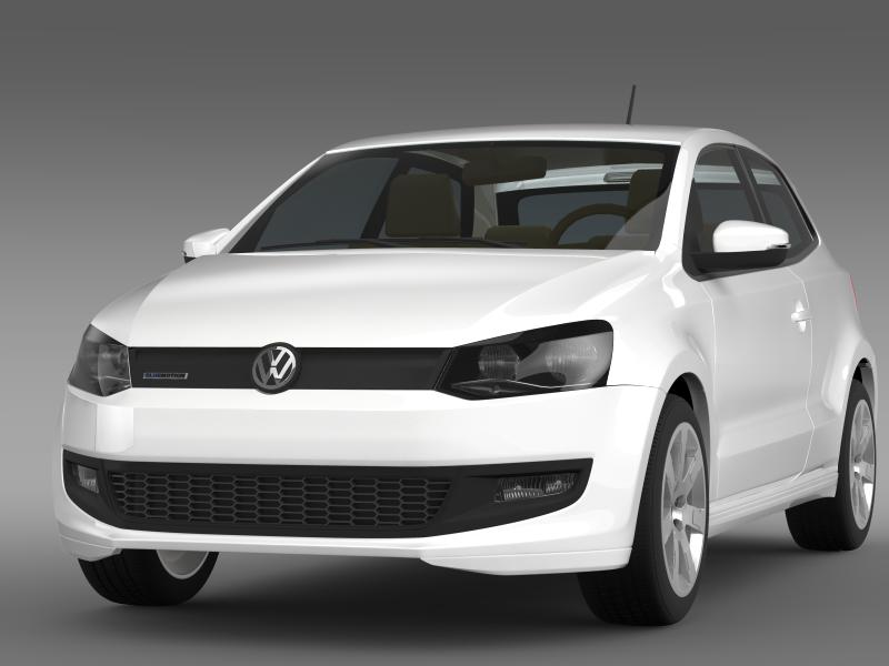 volkswagen polo bluemotion 3d 2010-2013 3d model 3ds max fbx c4d lwo ma mb hrc xsi obj 161358