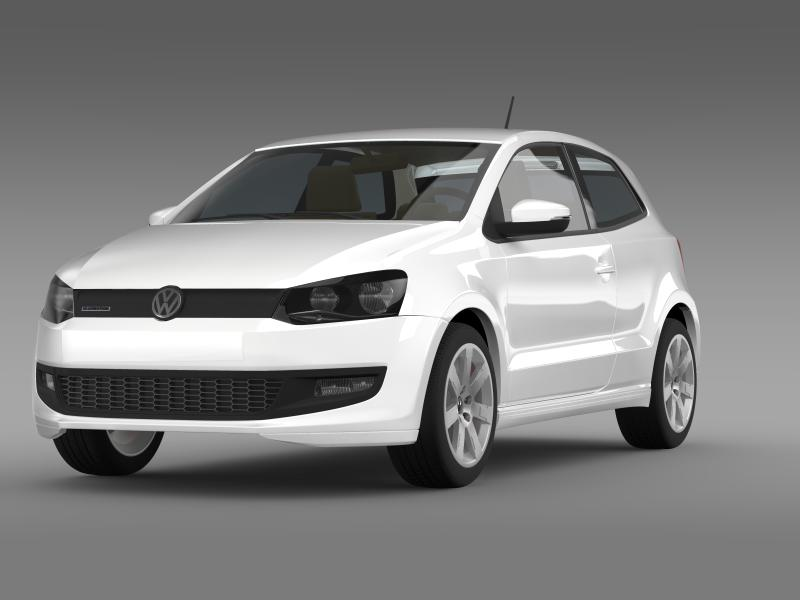 volkswagen polo bluemotion 3d 2010-2013 3d model 3ds max fbx c4d lwo ma mb hrc xsi obj 161359