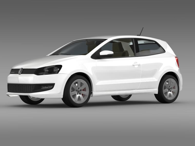 volkswagen polo bluemotion 3d 2010-2013 3d model 3ds max fbx c4d lwo ma mb hrc xsi obj 161360