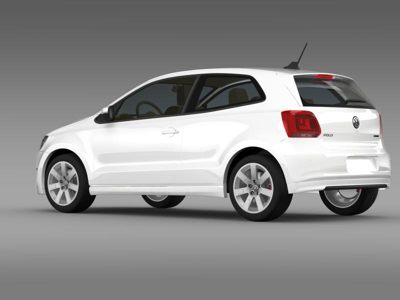 volkswagen polo bluemotion 3d 2010-2013 3d model 3ds max fbx c4d lwo ma mb hrc xsi obj 161362