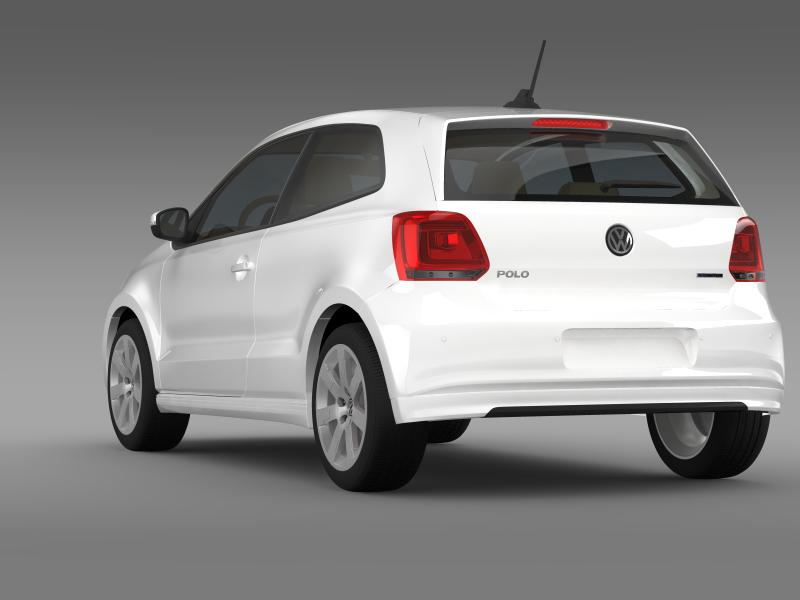 volkswagen polo bluemotion 3d 2010-2013 3d model 3ds max fbx c4d lwo ma mb hrc xsi obj 161364