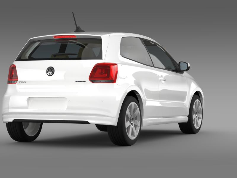 volkswagen polo bluemotion 3d 2010-2013 3d model 3ds max fbx c4d lwo ma mb hrc xsi obj 161365