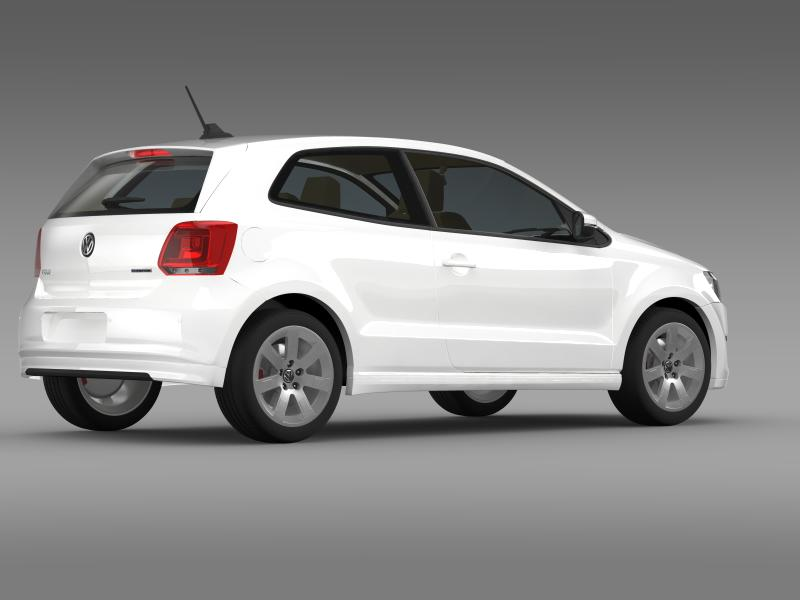 volkswagen polo bluemotion 3d 2010-2013 3d model 3ds max fbx c4d lwo ma mb hrc xsi obj 161366