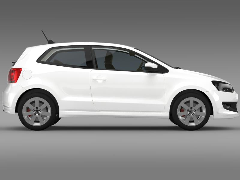 volkswagen polo bluemotion 3d 2010-2013 3d model 3ds max fbx c4d lwo ma mb hrc xsi obj 161367