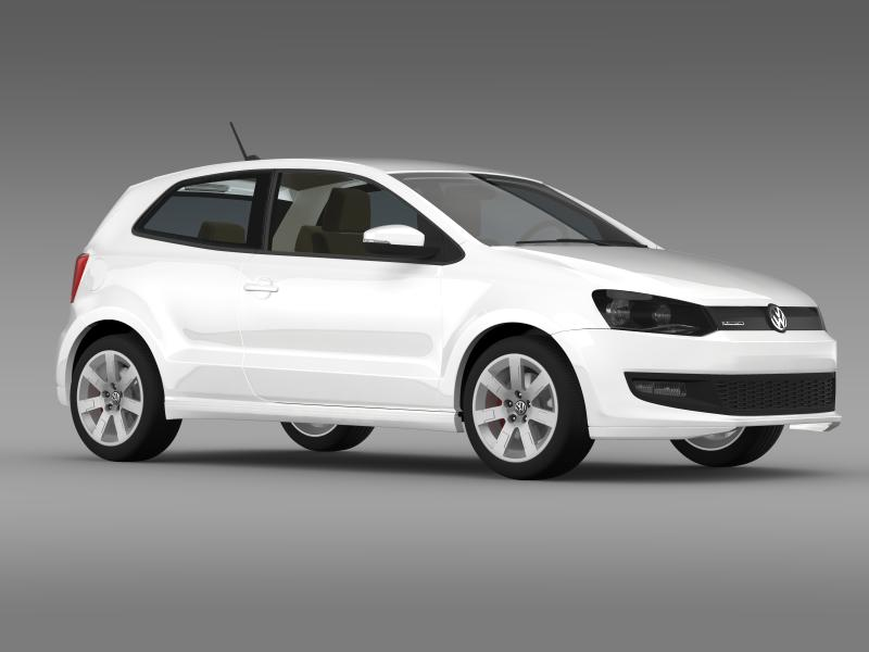 volkswagen polo bluemotion 3d 2010-2013 3d model 3ds max fbx c4d lwo ma mb hrc xsi obj 161368