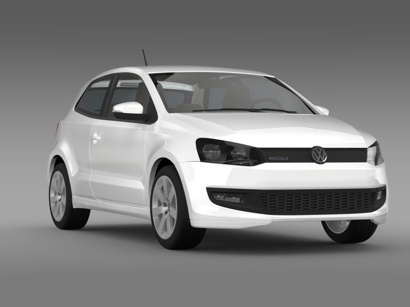volkswagen polo bluemotion 3d 2010-2013 3d model 3ds max fbx c4d lwo ma mb hrc xsi obj 161369