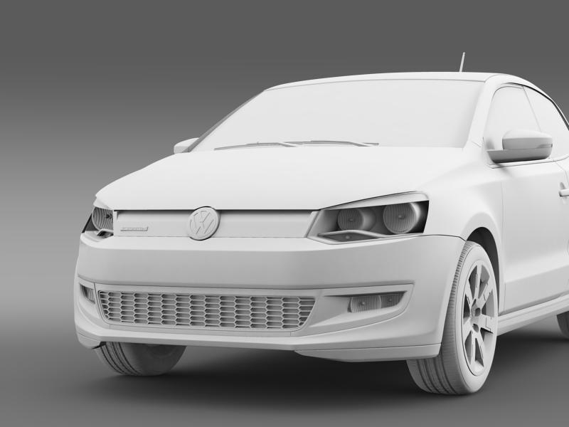 volkswagen polo bluemotion 3d 2010-2013 3d model 3ds max fbx c4d lwo ma mb hrc xsi obj 161371