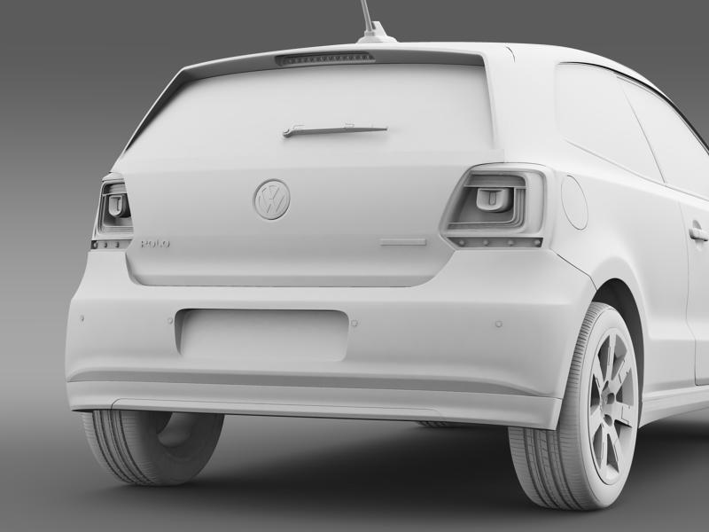 volkswagen polo bluemotion 3d 2010-2013 3d model 3ds max fbx c4d lwo ma mb hrc xsi obj 161373