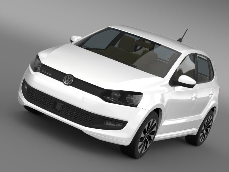 volkswagen polo bluemotion 5d 2014 3d model 3ds max fbx c4d lwo ma mb hrc xsi obj 161792