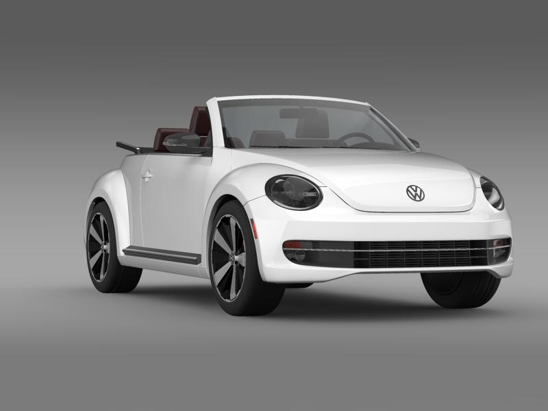 vw beetle cabrio 2013 3d model 3ds max fbx c4d lwo ma mb hrc xsi obj 147387