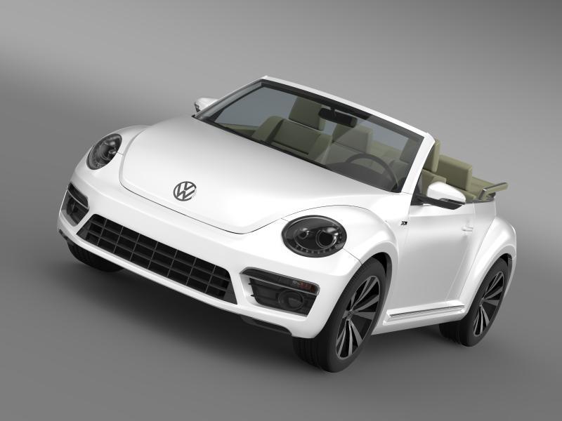 vw beetle rline cabrio 2014 3d model 3ds max fbx c4d lwo ma mb hrc xsi obj 149860
