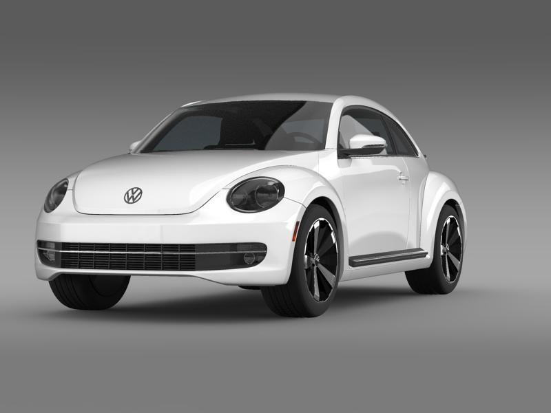 vw beetle turbo black 2012 3d model 3ds max fbx c4d lwo ma mb hrc xsi obj 147526