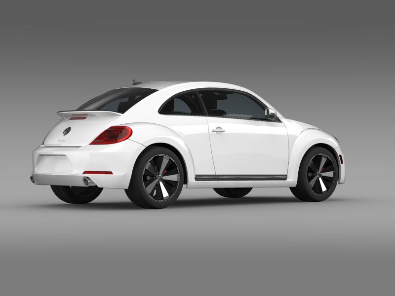 vw beetle turbo black 2012 3d model 3ds max fbx c4d lwo ma mb hrc xsi obj 147533