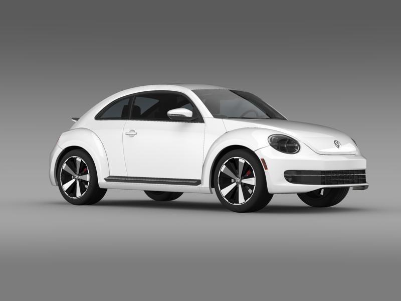 vw beetle turbo black 2012 3d model 3ds max fbx c4d lwo ma mb hrc xsi obj 147535
