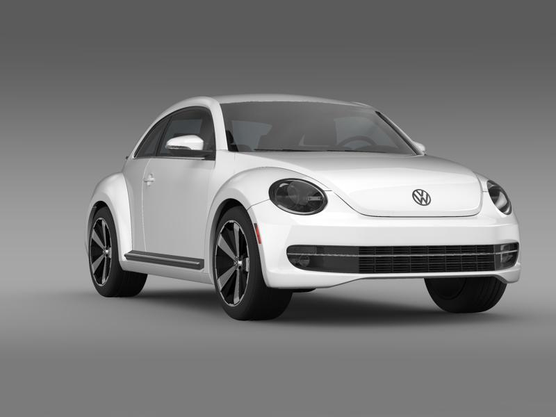 vw beetle turbo black 2012 3d model 3ds max fbx c4d lwo ma mb hrc xsi obj 147536