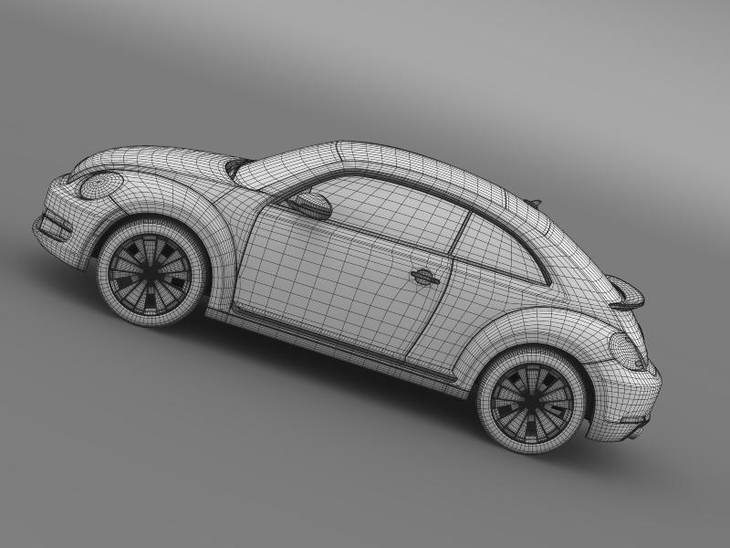 vw beetle turbo black 2012 3d model 3ds max fbx c4d lwo ma mb hrc xsi obj 147544