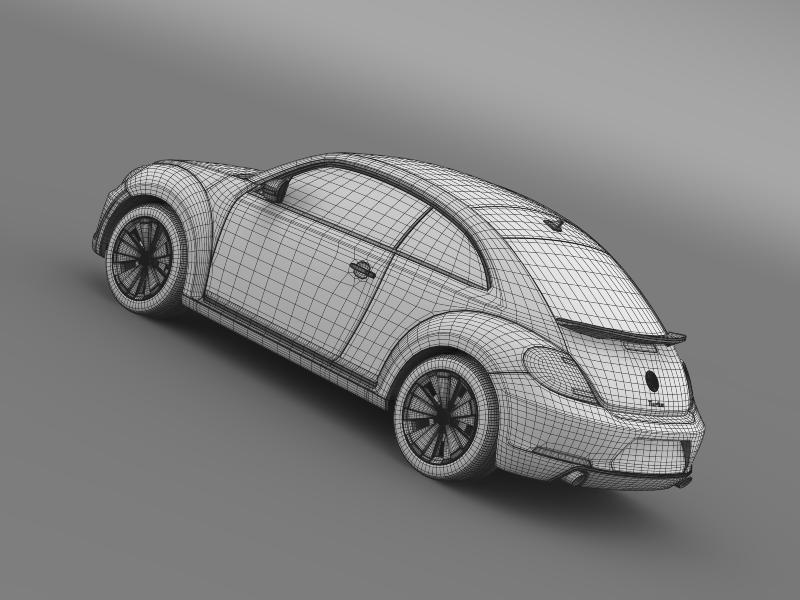vw beetle turbo black 2012 3d model 3ds max fbx c4d lwo ma mb hrc xsi obj 147545