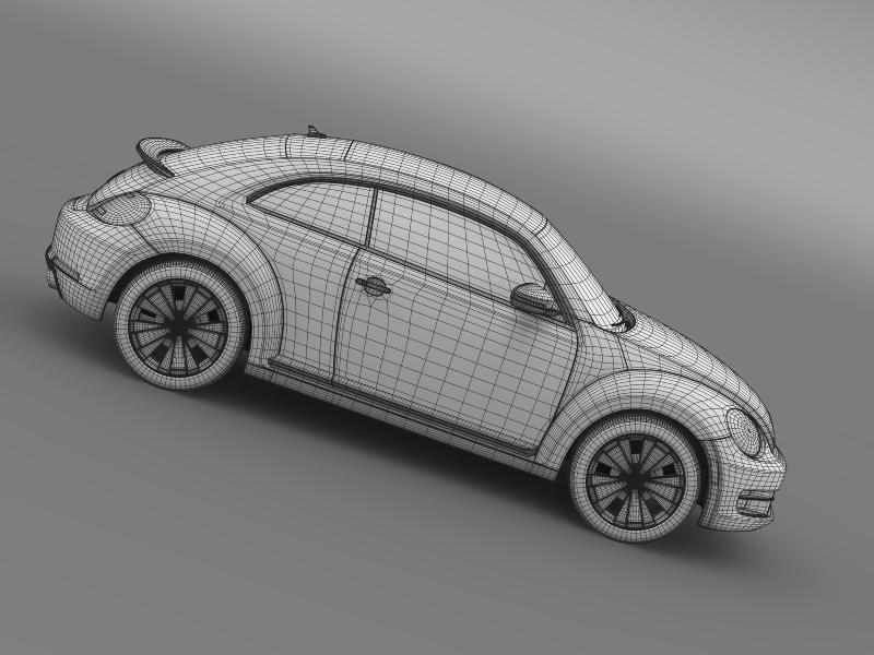 vw beetle turbo black 2012 3d model 3ds max fbx c4d lwo ma mb hrc xsi obj 147547