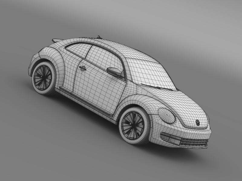 vw beetle turbo black 2012 3d model 3ds max fbx c4d lwo ma mb hrc xsi obj 147548