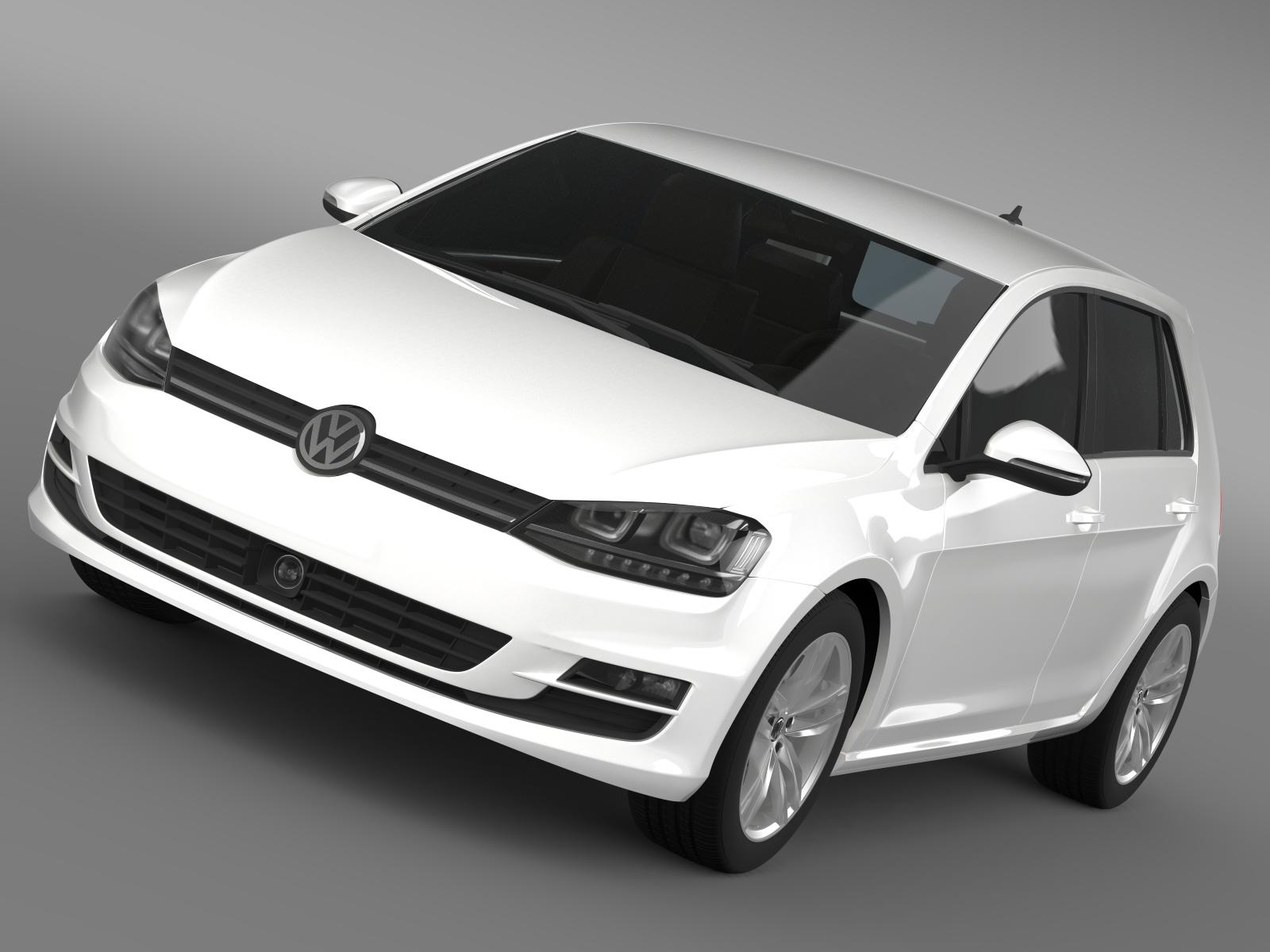 vw golf tdi 4motion 5d typ 5g 2013 3d model 3ds max fbx c4d lwo ma mb hrc xsi obj 165028