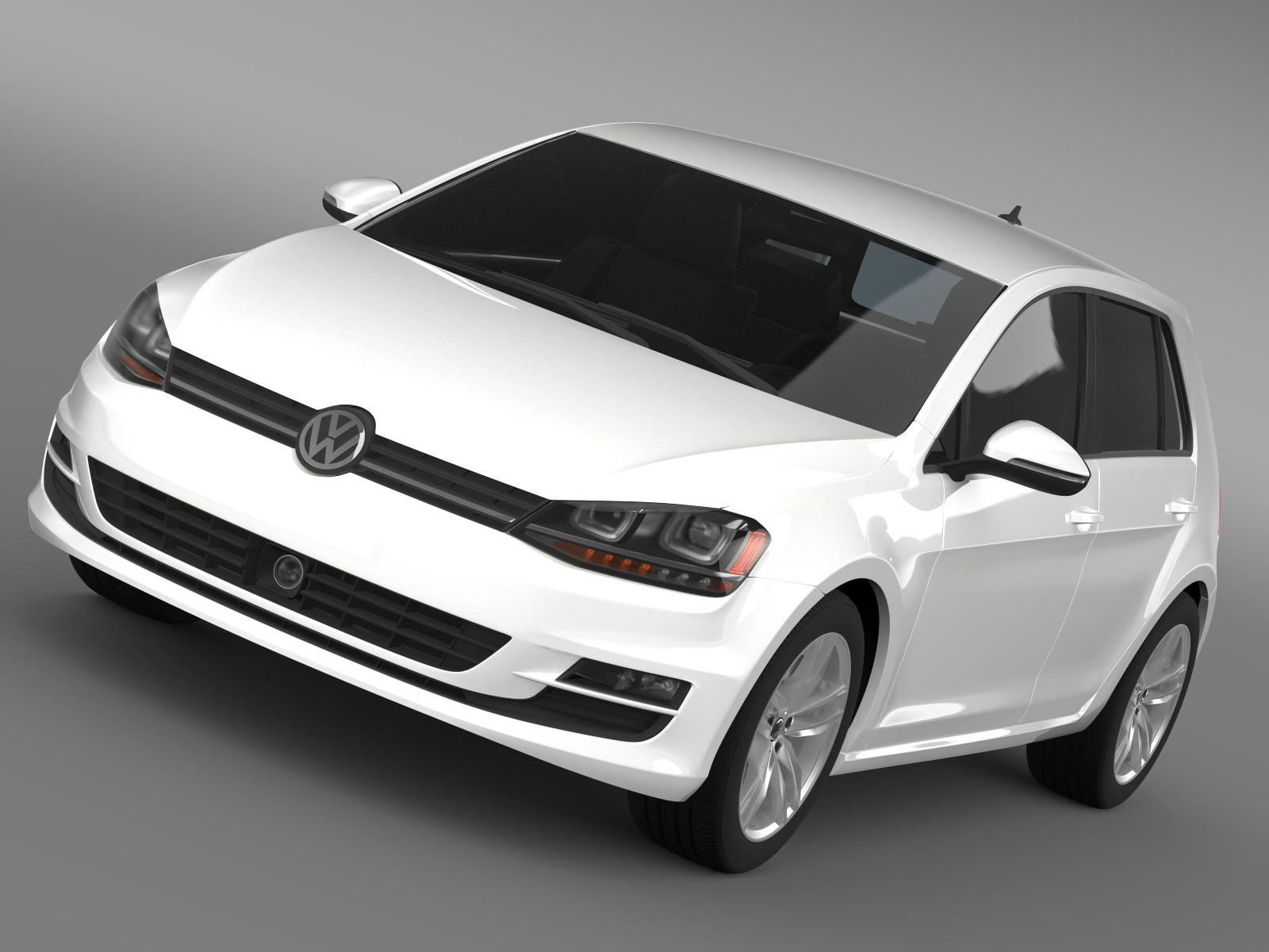 vw golf tsi bluemotion 5d typ 5g 2012 3d model 3ds max fbx c4d lwo ma mb hrc xsi obj 165065